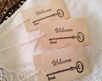 Welcome Tags Skeleton Key Wedding Coffee Stained Set of 25