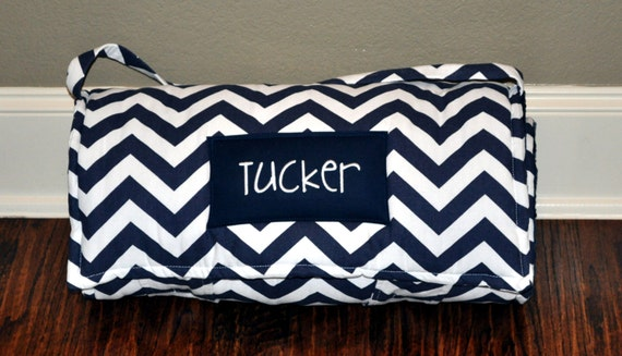 Nap Mat Monogrammed Navy Chevron Nap Mat With Navy Minky Dot