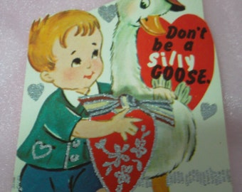 """Vintage 1970's """"Don't Be A Silly Goose"""" Valentine's Day Card"""