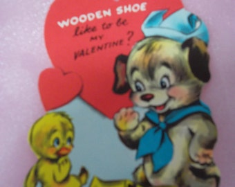 """Vintage 1970's Novelty Valentine's Day Card """"Wooden Shoe Like To Be My Valentine?"""""""