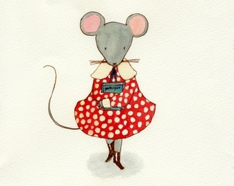 Mouse With A Book, Original Watercolor Painting, 7.5 x 9""