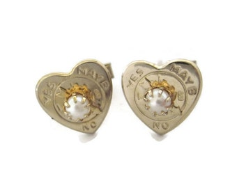 Vintage Fortune Cufflinks Heart Shaped Love - Yes - No - Maybe Cuff Links
