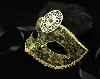 Sale! 24K Mask, Feathered High Fashion Masquerade Mask