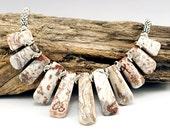 Beaded Collar, Spike Necklace, White Bead Necklace, Fan Necklace, White Bib Necklace, Spike Jewelry, Gemstone Collar, Gemstone Fan