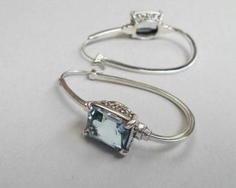 Balinese Silver sterling hoop earrings Topaz gemstone  / silver 925 / Bali handmade jewelry / 1.50 inch long