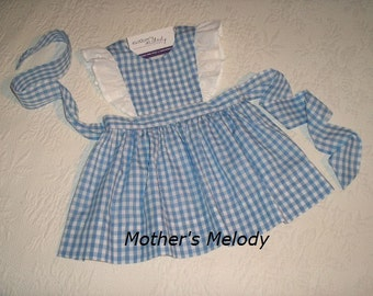 Gingham Pinafore Jumper Dress with eyelet ruffles in color choice.  Made to Order.