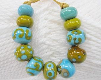 Turquoise and Relish Handmade Lampwork Beads-Set 2