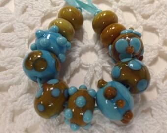 Handmade Lampwork Turquoise And Relish Beads