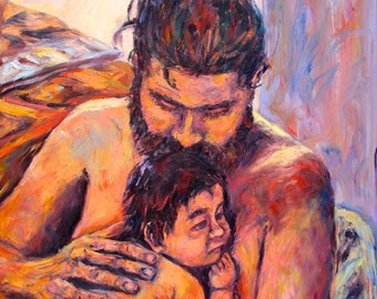 Alan and Clyde Art 36x26 Father and Son Oil Painting by Award Winning Artist Kendall F. Kessler