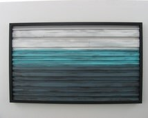 SALE! Abstract Ocean Landscape Scenery - Wood Wall Art - Painting on Wood - Wood Sculpture - Abstract Painting on Wood