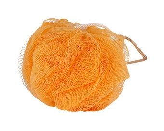 Orange Scrubbing Pouf