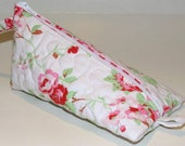 Quilted Triangular Zippered Case, Pink Roses, Upcycled Vintage Sheets