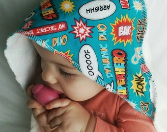 Bamboo Hooded Baby Towel: Superhero Sayings