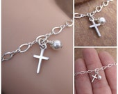 Little girl's cross bracelet - First communion bracelet - Baptism keepsake - Sterling silver bracelet  - Photo NOT actual size