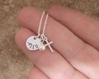 """Tiny name, tiny cross necklace - Girl's Baptism necklace - Tiny 3/8"""" disc for names 6 letters or less - Name necklace- Photo NOT actual size"""