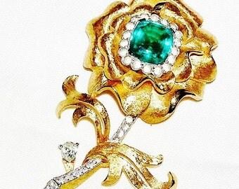 Large Emerald Clear Flower Figural Brooch