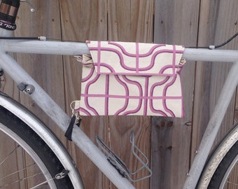 Bicycle Top Tube Wristlet - berry and cream color