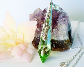 Swarovski Crystal Necklace Peridot Green Single Point Crystal Pendant with 18 or 24 inch Chain