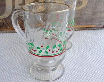 Vintage Arby's Holly Berry Holiday Glass Coffee Tea Mug