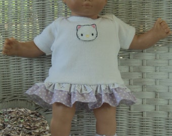 Doll Clothes,  Bitty Baby Girl  My Kitty 3 pc Lavender and white  Dress outfit  with headband and socks