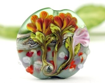 SRA Handmade Lampwork Glass Bead, Lentil Green Orange Pink  Flower Garden Bead 'Summer Garden'