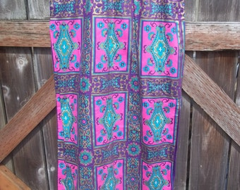 "BOHO long SKIRT Alex Coleman 1970's straight long skirt cotton blend lining purple pink black - waist 28 29 "" lounge skirt festival evening"
