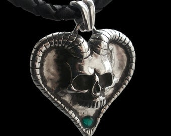 Sterling Silver Devil Skull Heart Pendant with Lab Created Emerald - Black Braided Leather Cord Necklace