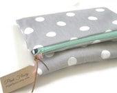 Spring Clutch Foldover Clutch Gray and White Polka Dot Clutch Handbag