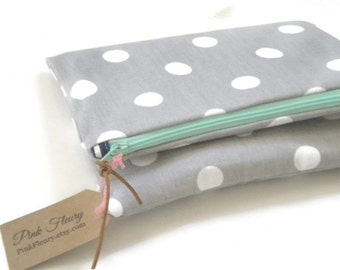 Spring Clutch Foldover Clutch Gray and White Polka Dot Clutch Handbag