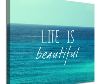 Life is Beautiful inspirational quote sea canvas art picture