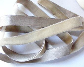Vintage 1930's Silk Charmeuse Velvet Ribbon 5/8 Inch Suede Beige