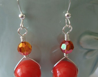 FREE SHIPPING Sterling Silver Orange Stone Earrings