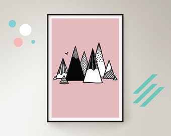 Mountains landscape home decor art print poster in pink - customised personalised