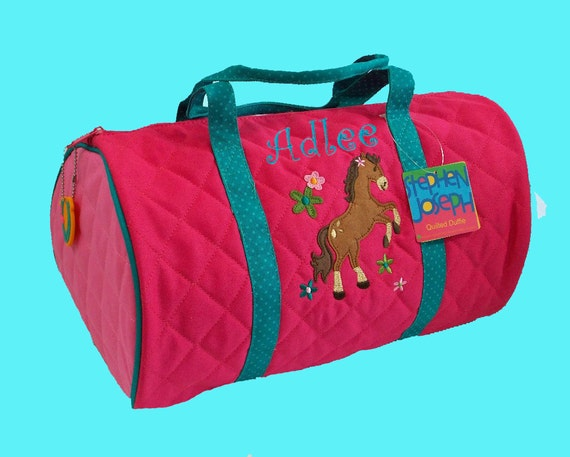 Child's Monogrammed Stephen Joseph New Style HORSE GIRL Quilted Duffle Bag