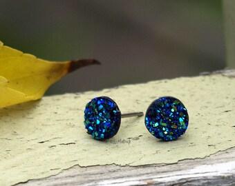 Faux Druzy Mini Stud Earrings - Black Blue Teal. Resin Druzie Glitter Posts - Blue Sparkle 8mm Mini Drusy. Titanium or Stainless Steel Posts