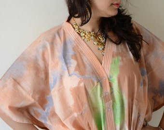 Peach Nursing Maternity Hosptial Gown Delivery Kaftan-Perfect as loungewear as getting ready as beachwear, gift for moms and to be moms