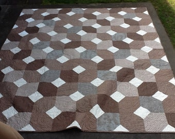 X's and O's Brown and White Quilt