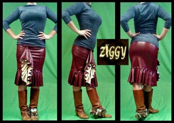 Custom Faux Leather Ruffle Skirt