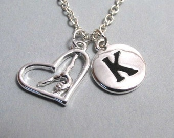 Gymnast in Heart Charm Silver Plated Charm Charm Supplies Supplies