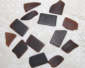 Faux Sea Glass undrilled lot - bottle brown - 13 pieces for mosaic
