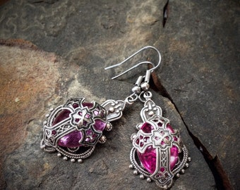 Pink and Silver Medieval Cross Earrings
