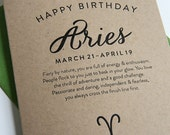 Letterpress Astrology Birthday Card - Aries