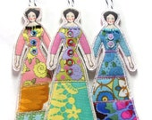 Three Tiny Ladies Cloth Doll Tags/Decorations Fabric Gift Tags Tiny Flat Ornaments Gift Decorations