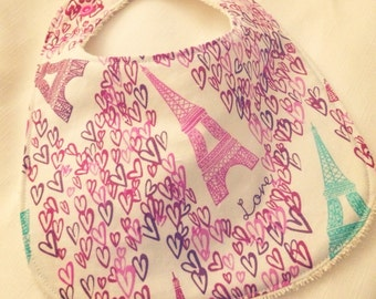 Paris Love - Infant or Toddler Bib - Terry Cloth Backing - Reversible with ADJUSTABLE Snaps