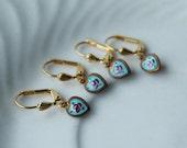 Vintage Guilloche Enamel Charms earrings, tiny blue heart.