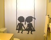Brother Sister Children Kids Shower Curtain Shared Bathroom Decor Swing Boy Girl Bath Child Friends Siblings Family waterproof polyester