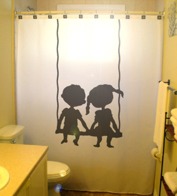 Brother sister children kids shower by customshowercurtains for Shared bathroom ideas