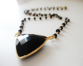 Jasmine Necklace Black Onyx Triangle Pendant Necklace, Beaded Black Spinel Gemstone Necklace