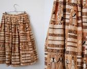 1950's Novelty Print Cotton Skirt • Folkloric Patterned Full Skirt • 1950's Full Skirt