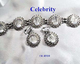Price Lowered FREE SHIP Celebrity Reverse Carved Bracelet and Earrings Set (4-4510)